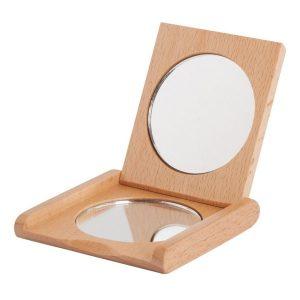 redecker wooden pocket-folding-mirror